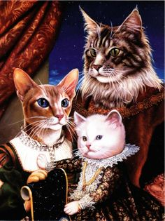 Cat Family by Mark Hess Elegant Dressed Cat Art Postcard | eBay