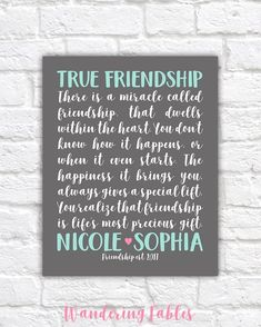 Gifts for Best Friend Friendship Poem Custom BFF Gift for Bff Gifts, Best Friend Gifts, Gifts For Friends, Best Friends, Friends Forever, Special Friends, Friendship Poems, Friend Friendship, Bridesmaid Quotes Friendship