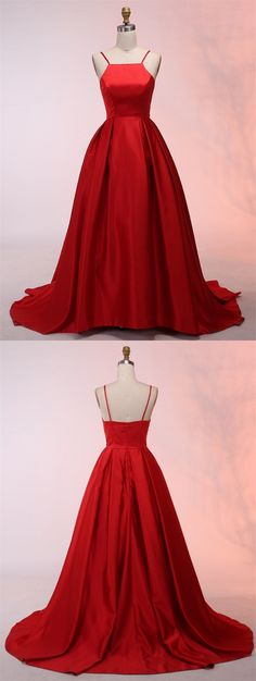 elegant red spaghetti strap red satin prom dress with pleats, chic ball gown red satin party dress with pleats