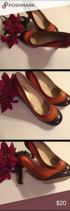 Dollhouse Davinci Heeled Shoe Beautiful multicolor earth tone colors Heeled shoe. Colors are rust orange and brown. Heel height is 3 1/2 inches. There is wear on the outside and inside of the shoe but can be fixed 100%leather. Size 9 women's. A very excellent shoe. Dollhouse Shoes Heels