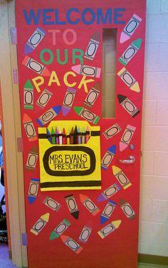 door at the beginning of school to welcome our students to Preschool. Kindergarten Door, Kindergarten Bulletin Boards, Preschool Bulletin Boards, Kindergarten Classroom, Bullentin Boards, Welcome To Preschool, Classroom Welcome, Classroom Door, Classroom Ideas