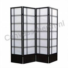 Japans Kamerscherm Zwart - Shoji - van 4 panelen.