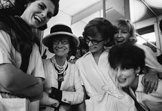 Coco Chanel backstage with models - 1962