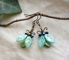 Iridescent Bug/Beetle Earrings Ice Blue/Golden by BaroqueGarden