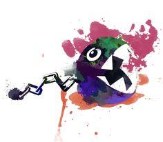 Super Mario Chomp Watercolor Art Print