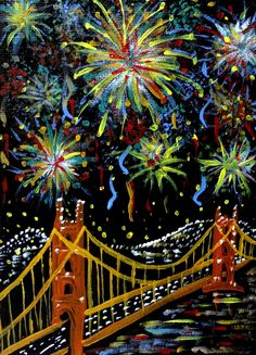San Francisco fireworks, Golden gate bridge painting, Acrylic on . Art Drawings For Kids, Drawing For Kids, Art For Kids, Golden Gate Bridge Painting, Firework Painting, School Murals, Paint And Sip, Expressive Art, Nouvel An