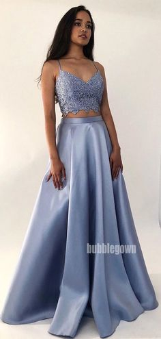 Sexy Two Piece Crop Prom Dress With Appliques 2020 Evening Gown Sexy Floor Length Formal Party Dress Pageant vestidos de gala Prom Dresses Two Piece, Blue Evening Dresses, Prom Dresses Blue, Prom Party Dresses, Sexy Dresses, Summer Dresses, Wedding Dresses, Prom Two Piece, Chiffon Dresses