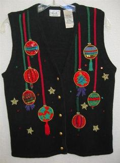 Deck yourself in a ugly Christmas vest with oranaments hanging...size S eBay