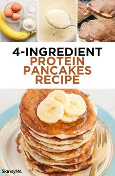These 4 ingredient protein pancakes will change everything you know about your favorite breakfast. These 4 ingredient protein pancakes will change everything you know about your favorite breakfast. Protein Powder Pancakes, Banana Protein Pancakes, Protein Powder Recipes, Pancakes From Bananas, Healthy Oatmeal Pancakes, Low Carb Protein Pancakes, Health Pancakes, Low Fat Pancakes, Flourless Banana Pancakes