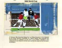 QEII 1966 World Cup stamp: Submitted design by William Kempster, 21 February 1966. (QEII/47/001)