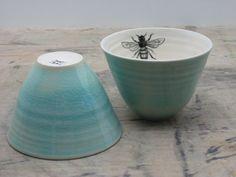 ≗ The Bee's Reverie ≗ Porcelain Blue Bee Tea Cups