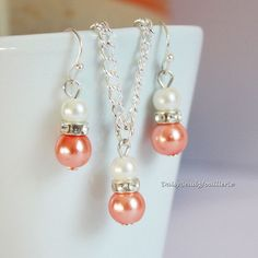 Orange Coral and Ivory Necklace, Bridesmaids Necklace Earrings, Flower Girl Jewelry, Coral Necklace, Coral Earrings, Wedding Gift for Her by DaisyBeadzJoaillerie on Etsy https://www.etsy.com/ca/listing/194310143/orange-coral-and-ivory-necklace