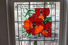 Bright Orange Hibiscus Stained Glass Panel