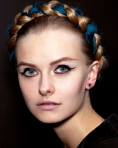 Milkmaid braid + blue ribbon - For your once in while elegant look! #braid