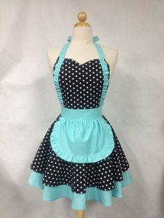 French Maid Apron Polka Dot with Aqua - Retro Full Apron. $38.75, via Etsy.