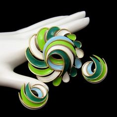 TRIFARI SET WITH FRESH SPRING COLORS! The enameled swirls in this set are just so pretty! $96.50. See this and More Glamorous Vintage Jewelry Sets in My Shop:https://www.etsy.com/shop/MyClassicJewelry?section_id=13109955