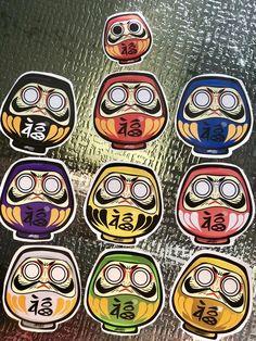 Daruma Doll Lucky Art Stickers | Etsy Daruma Doll Tattoo, Hannya Tattoo, Lucky Art, Japan Logo, Japanese Tattoo Designs, Cool Tats, Maneki Neko, Logo Sticker, Art Reference