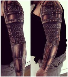 Great armor sleeve by Ezequiel Samuraii. #InkedMagazine #tattoo