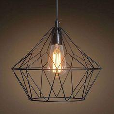 Vintage Industrial Iron Cage Pendant Light Hanging Lamp Art Deco Lighting Black