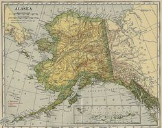 Map of Alaska A Well Traveled Woman, Living In Alaska, Old Maps, Adventure Is Out There, Cartography, Places To See, Vintage World Maps, Scenery, Around The Worlds