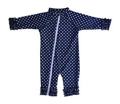 SwimZip Baby Girl Long Sleeve Sunsuit with UPF 50+ Blue 0-6 Month