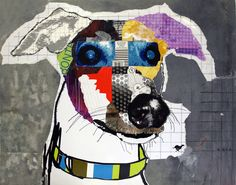 #DOG ART Original Greyhound Dog Pop Art Collage: Stoney by Michel Keck.    Photo credit: (c) MichelKeck.com    Pour acheter l'oeuvre, direction le site officiel:  http://www.michelkeck.com/category_s/142.htm