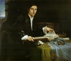 Portrait of a Gentleman in his Study (c.1530).Lorenzo Lotto(Italian, c.1480-1556). Oil on canvas. Gallerie dell'Accademia, Venice.The pale young man with his finely tapered face is caught in a moment of yearning thoughtfulness as his fingers leaf absent-mindedly through the pages of a large book. The natural light highlights the vibrant blacks and greys of his garments, the pale pink tones of his flesh and the blues of the table. The man, with a lack of any strong emotion, seems part of…