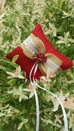 Vintage Ringkissen Rot Spitze Rosen Christmas Stockings, Holiday Decor, Wedding, Home Decor, Red Lace, Grinding, Rings, Basteln, Needlepoint Christmas Stockings