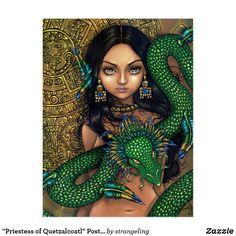 Shop Priestess of Quetzalcoatl Art Print Aztec Dragon created by strangeling. Quetzalcoatl Art, Aztecas Art, 2d Art, Feathered Serpent, Arte Black, Black Art, Aztec Ruins, Mayan Ruins, Pin Up