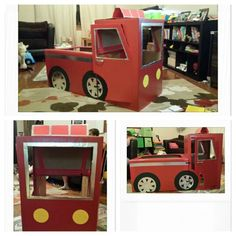 Cardboard Firetruck Fort! I created this for my nephews.  I used 2 shorty wardrobe boxes from U Haul, paint (red), duct tape (silver and red) tag board (black, yellow, and red), and some velcro cable ties to make it.  The cable ties are optional so it can be flattened and put away when not in use.