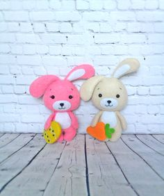 Easter Ornaments Bunny Eggs Felt Decorations Carrot Easter Basket Handmade Gift For Kids Holiday Spring Tree Decor Rabbit Kawaii Soft Toy by BelkaUA on Etsy