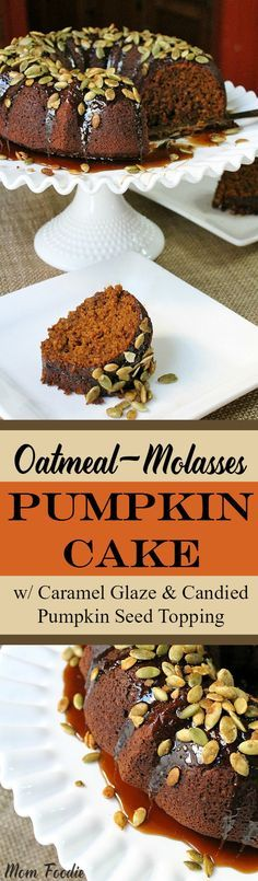 Pumpkin Cake featuring oatmeal and molasses with caramel glaze and topped with candied pumpkin seeds.