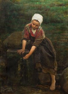 Brittany Girl at a Well, c. 1870 oil on canvas signed Jules Breton Estimate: $20000 - $40000