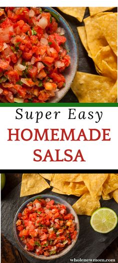 This delicious homemade salsa recipe is made with fresh tomatoes. Very quick and easy to make it is suitable for vegan, low carb and dairy free diets. Brighten up your summer food! Best Salsa Recipe, Cherry Salsa, Easy Homemade Salsa, Fresh Tomato Salsa, Dairy Free Diet, Healthy Dips, Summer Food, Spreads, Diets