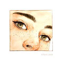 ☼ lauren ☼ ☾☼ - Freckle , ☼ lauren ☼ ☾☼ ☼ lauren ☼ ☾☼ a r t. Arte Sketchbook, Art Drawings Sketches, Aesthetic Art, Love Art, Art Inspo, Painting & Drawing, Art Reference, Watercolor Paintings, Watercolor Eyes