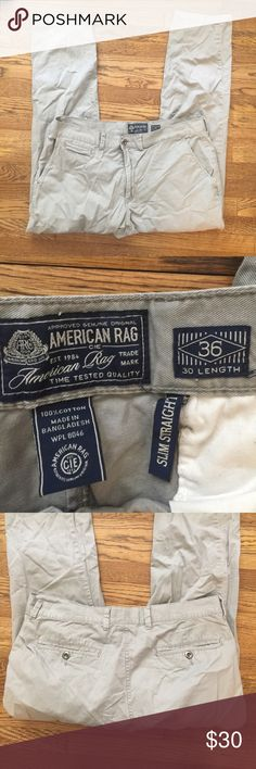American Rag grey pants American Rag grey pants in EUC, clean but wrinkled from storage. Slim Straight style. Size 36 x 30 American Rag Pants Chinos & Khakis