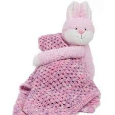 DMC Hug This Bunny Blanket. Lace Baby Blanket pattern and yarn with stuffed bunny. Bunny Blanket, Knitting Kits, Merino Wool Blanket, Hug, Lace, Pattern, How To Make, Patterns, Racing