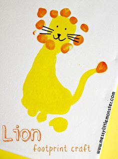 Lion footprint craft for kids – an adorable keepsake activity. Great for babies, toddlers and preschoolers. Lion footprint craft for kids – an adorable keepsake activity. Great for babies, toddlers and preschoolers. Safari Crafts, Zoo Crafts, Animal Crafts For Kids, Daycare Crafts, Toddler Crafts, Preschool Crafts, Kids Crafts, Art For Kids, Craft Projects
