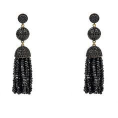 Latelita london - tassel ball earring spinel (black) (£520) ❤ liked on Polyvore featuring jewelry, earrings, ball earrings, pave hoop earrings, ball hoop earrings, ball jewelry and earring jewelry