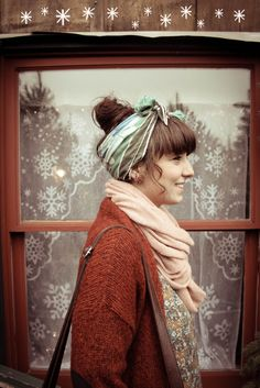 Love this look with the scarf as a head wrap. So cute and good for different length hair.