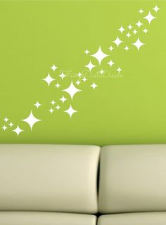 Retro Stars wall decals set of 50 stars by FairyDustDecals on Etsy, $25.00