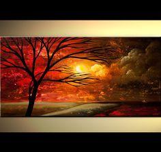Paisaje moderno rojo abstracto árbol pintura de por OsnatFineArt