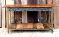 Custom console made from reclaimed wood by Landrum Tables, Charleston SC  http://www.landrumtables.com