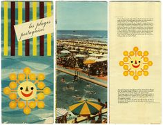 Portuguese Beaches brochure (french version), probably from early 1960s, from Portugal Official Tourism. Designer unknown. (via fotolito)