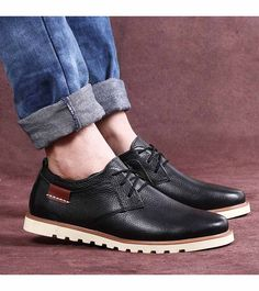 Men's #black casual lace up leather #DressShoe, sewing thread design, casual, work office occasions, round toe, Knitted shoelace.