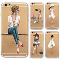 Phone Case Cover For iPhone 4s 5s SE 5c 6 6s 6plus Soft Silicon Transparent Painted Dress Shopping Girl Skin Shell Capa Celular #>=#>=#>=#>=#> Click on the pin to check out discount price, color, size, shipping, etc. Save and like it!