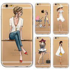 Điện thoại case bìa cho iphone 4 s 5 s se 5c 6 6 s 6 cộng với Mềm Silicon Transparent Painted Dress Mua Sắm Cô Gái Da Shell Capa Celular