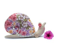 Stuffed animal Snail plush toy in pink floral by CherryGardenDolls, $19.95