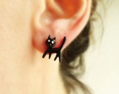 Cat earrings, black cat jewelry, tween jewelry animal earrings, black and white, cute cat face accessories, best selling items, best friend