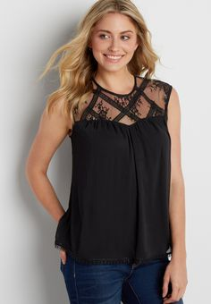 "textured sleeveless top with lace yoke ""On my wish list #wishpinwinsweepstakes and #discovermaurices"""